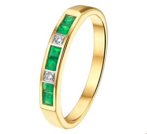 Fantasy collection Ring smaragd en diamant 0.02ct H SI - PSN4208125