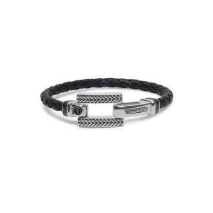 BUDDHA TO BUDDHA armband 120BL Galang Leer Zwart