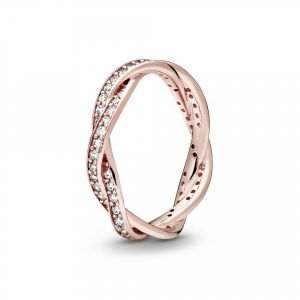 PANDORA Sparkling Twisted Lines Ring 180892CZ