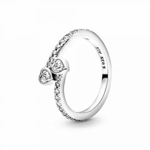 PANDORA Two Sparkling Hearts Ring 191023CZ