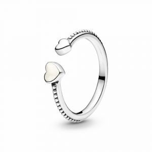 PANDORA Beaded Two Hearts Open Ring 191045EN23