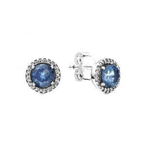 PANDORA Blue Round Sparkle Oorknopjes 296272C01