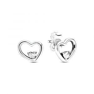 PANDORA Asymmetrical Heart Oorknopjes 297813CZ