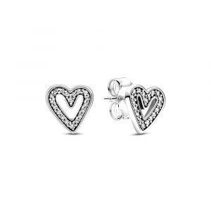 PANDORA Sprankelende Vrije Hand Hart Ringvormige Oorstekers 298685C01