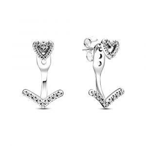 Pandora Sparkling Wishbone Hart oorknoppen 299280C01