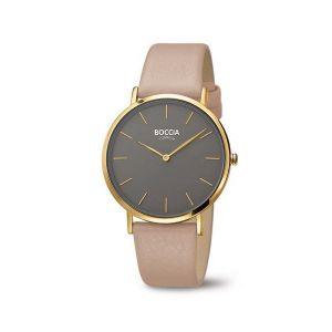 Boccia Titanium 3273-04 horloge - Leer - Bruin - 36 mm