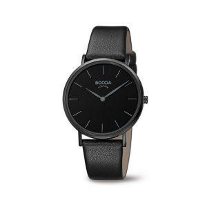 Boccia Titanium 3273-07 horloge - Leer - Zwart - 36 mm