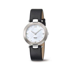 Boccia Titanium 3292-01 horloge - Leer - Zwart - 32 mm