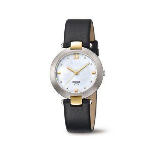 Boccia Titanium 3292-02 horloge - Leer - Zwart - 32 mm