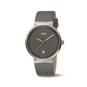 Boccia Titanium 3615-03 horloge - Leer - Grijs - 38 mm