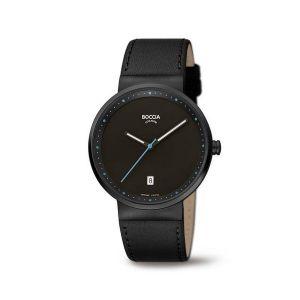 Boccia Titanium 3615-04 horloge - Leer - Zwart - 38 mm