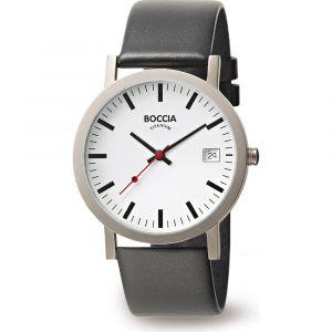 Boccia Titanium 3622-01 horloge - Leer - Zwart - 38 mm