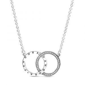 PANDORA Entwined Circles Logo & Sparkle Ketting 396235CZ