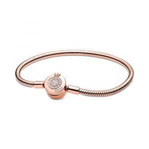 PANDORA Moments Sprankelende Crown O Snake Chain Armband 589046C01