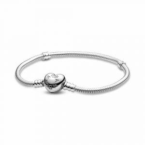 PANDORA Moments Snake Chain Armband met Hartsluiting 590719