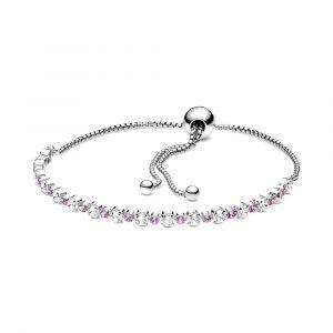 PANDORA Pink & Clear Sparkle Sliding Armband 598517C02