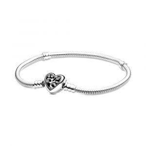 PANDORA Moments Stamboom Snake Chain Armband met Hartsluiting 598827C01