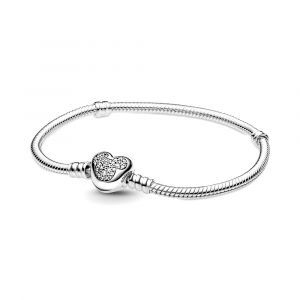 Disney snake chain sterling silver bracelet with Mickey clasp with clear cubic zirconia 599299C01