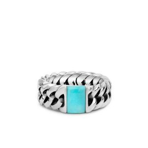 BUDDHA TO BUDDHA ring 603TQ Chain Stone Turquoise Zilver