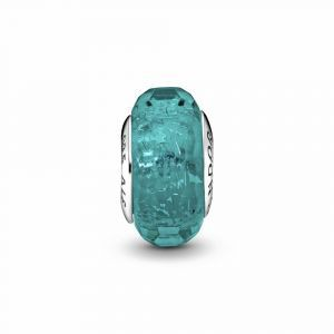 PANDORA Faceted Teal Murano Glass Bedel 791655