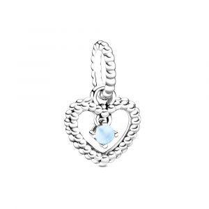 PANDORA Hemelsblauwe Hartvormige Hangende Kralenbedel 798854C07