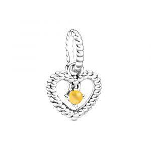 PANDORA Honingkleurige Hartvormige Hangende Kralenbedel 798854C11