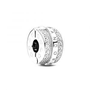 PANDORA Fixed clip bedel Sparkling Pavé Lines & Logo 799042C01