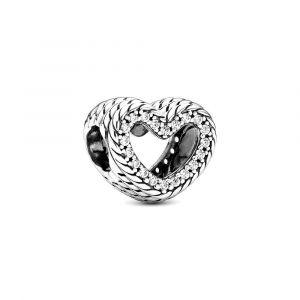PANDORA Bedel Snake Chain Pattern Open Heart 799100C01