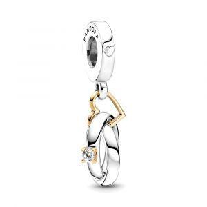 PANDORA Two-tone Wedding Rings Dangle Charm 799319C01