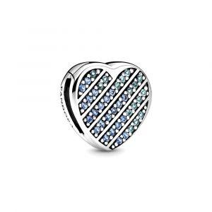 PANDORA Blauw Pave Hart Clip Bedel 799346C01