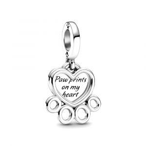 PANDORA Hearts & Paw Print Dangle Charm 799360C00