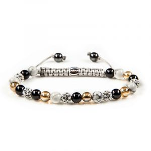 Karma Armband 82095 Spiral Black meets Gold XS (White Crystal)