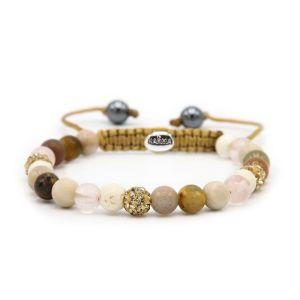 Karma armband 83613 Spiral Simply Brown XS (gold crystal)