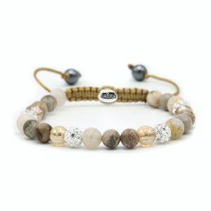 Karma armband 83620 Spiral Creamy Gold XS (white crystal)