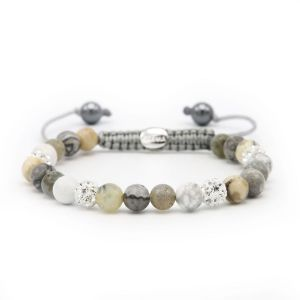 Karma armband 83627 Spiral Natural Grey XS (white crystal)
