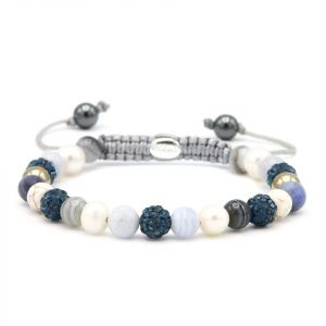 Karma armband 83653 Spiral Frozen Pearl XS (blue crystal)