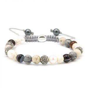 KARMA armband 83663 Spiral Diamonds & Pearls XS (grey crystal)