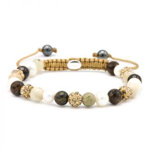 KARMA armband 83683 Spiral Natural Pearl XS (gold crystal)