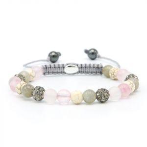 Karma armband 83700 Spiral little pink XS (grey crystal)