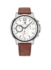Tommy Hilfiger TH1791531 Horloge - Leer - Bruin - Ø 44 mm