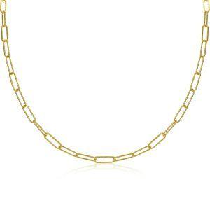 ZINZI zilveren ketting 45cm in 14K geel verguld met trendy paperclip schakels van 3,4mm breed ZIC1992G