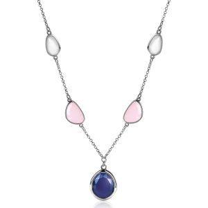 ZINZI zilveren collier 45cm met witte, zachtroze en blauwe kleurstenen in trendy vormen ZIC1998