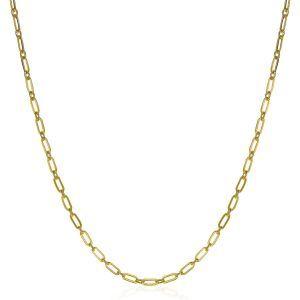 ZINZI zilveren ketting 45cm geel verguld met 'paperclip' schakel 2,4mm breed ZIC2033G