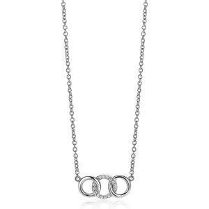 ZINZI zilveren ketting 45cm met 3 open rondjes verbonden wit ZIC2045