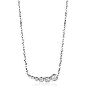 ZINZI zilveren ketting 45cm rond wit ZIC2053