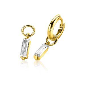 ZINZI zilveren oorbedels geel verguld 15mm rechthoek wit ZICH2056Y
