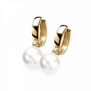 ZINZI zilveren oorbedels geel verguld parel wit ZICH266WG