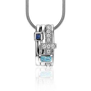 ZINZI zilveren schitterende hanger 16mm bezet met blauwe, turquoise en diverse witte zirkonia's ZIH2012B