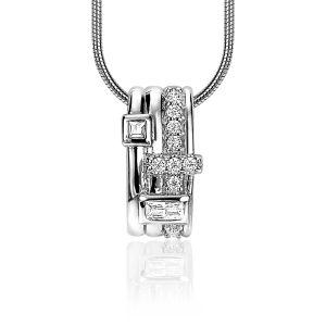 ZINZI zilveren schitterende hanger 16mm bezet met diverse witte zirkonia's ZIH2012