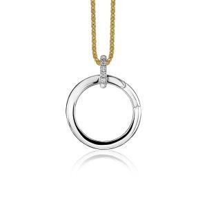 ZINZI zilveren ronde hanger 21mm met sluitring wit ZIH2061
